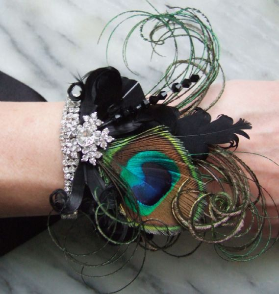 "Bridal Wrist Corsage Bracelet Cuff Peacock Feathers + Crystals Art Deco Inspired ""Cally"" Black Green"